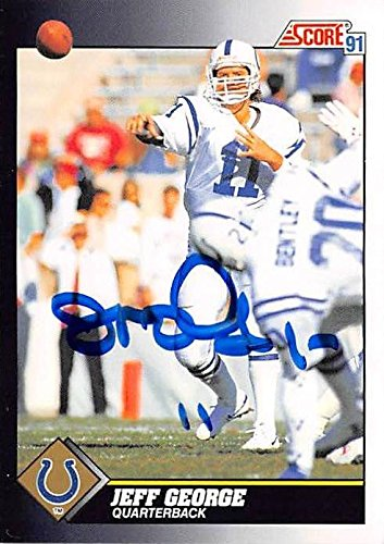 Jeff George Autographed Football Card Indianapolis Colts
