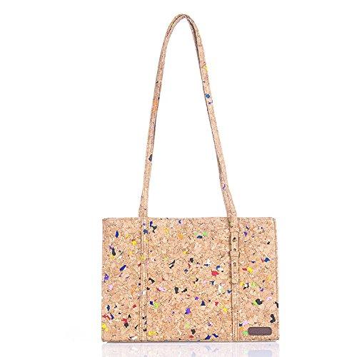 Yvettevans Natural Cork Handbag Satchel Women's Top Cork Bag Peta Approved (Cork Purse)