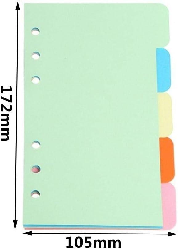 25 Blatt Trennbl/ätter Notizbuch Index Papier Trenner A6 6 L/öcher Farben Planer Register Register Register Register Register Karten Notizbuch Tab Trennbl/ätter Schule Schreibwaren