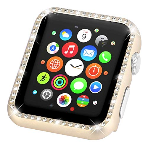 (Tech Express Crystal Diamond Bling Case Aluminum Metal Lightweight Snap on Frame for Apple Watch [iWatch] Impact Shockproof Protection Stainless Steel Cover Accessories (Gold, 44mm))