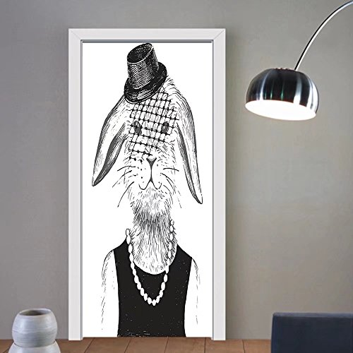 Gzhihine custom made 3d door stickers Modern Rabbit Girl with Pearls and Vintage Hat Hipster Comic Cute Retro Bunny Graphic Black White For Room Decor - Comics Hipster