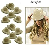 Adorox 48Pc Khaki Beige Soft Plastic Tan Childs Jungle Safari Pith Sun Hat Costume Birthday Party Favor Kids Halloween Toy