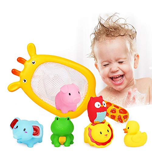beiens Bath Toys for Toddlers - Floating Animals, Cartoon Marine Animals Kids Bathtub Toy, Catch Net Game Bathroom Pool Accessory, Fun Learning & Education Toys - Induction Water Temperature