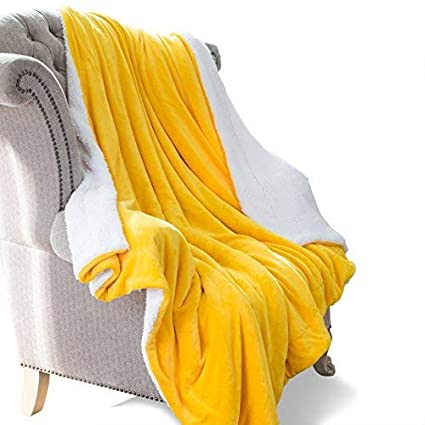 HoroM Sherpa Throw Blanket Yellow 60 quot x80 quot  Microfiber Reversible  Bed Throws Luxury Soft Cozy 84053e76c
