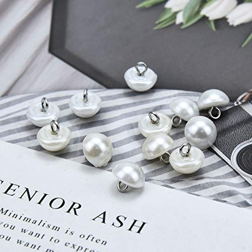 Monrocco 100 pcs White Pearl Bead Cap Half Ball Faux Pearl Flower Buttons with Shank Embellishments for Craft (Button White Shank)
