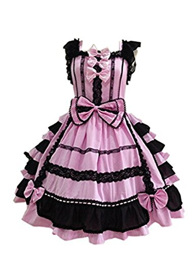 Nuoqi Court Lolita Dress Pink&black Lace Cosplay Princess Dress XXL Size