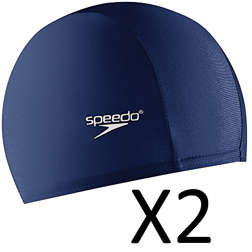 Speedo Adult Nylon Lycra Swim Head Cap w/ Elastic Band, Navy (2-Pack)