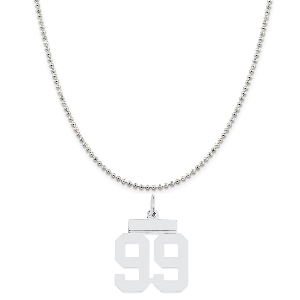Sterling Silver Small Polished Number 99 on a Sterling Silver Cable Snake or Ball Chain Necklace
