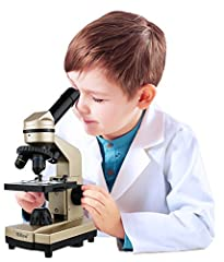 Kids educational expanded laboratory microscope kit with over 50 tools and accessories. Encourages and develops your child's interest in science and chemistry and gives them a hands-on science experience. Zoom in and zoom out with its 360 degree rota...