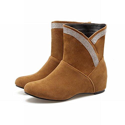 Carolbar Kvinners Rhinestones Retro Komfort Skjult Hæl Korte Støvler Gul-brun