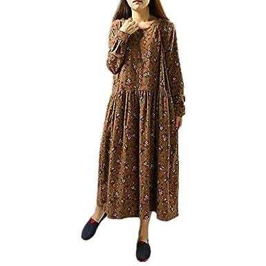 e1e3d4bb638 Robe Jupe Automne Hiver Casual Chic Vintage Luxe LéGer ÉLéGant Nouvelle  Femmes Manches Longues O-Cou imprimé Floral Poches lâche Coton Lin Robe ...