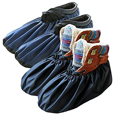 9edcd4e2b8a51 DearyHome Washable Reusable Waterproof Shoe Covers Premium Non Slip Boot  Covers for Household Contractors, X-Large, 2 Pairs