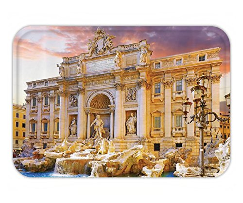 Beshowere Doormat Trevi Fountain Good Luck History of the World Art and Architecture FamouLandmarkof Italy Digital Print Polyester Fabric Beige Blue Aqua Coral.jpg by Beshowere