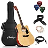 electric acoustic guitar - Ashthorpe Full-Size Cutaway Thinline Acoustic-Electric Guitar Package - Premium Tonewoods - Natural