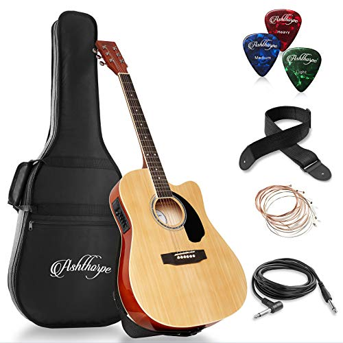 - Ashthorpe Full-Size Cutaway Thinline Acoustic-Electric Guitar Package - Premium Tonewoods - Natural