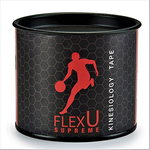 FlexU - SUPREME. Continuous 1 Roll Pack, Black Therapeutic Kinesiology Recovery Tape. Advanced Strength & Flexibility Properties, Longer Lasting, Pro Grade Sports Tape.