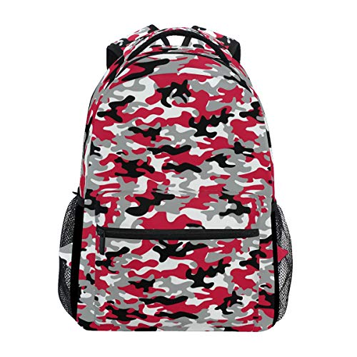(Red Black White Grey Camouflage School Backpack Large Capacity Canvas Rucksack Satchel Casual Travel Daypack for Adult Teen Women Men)