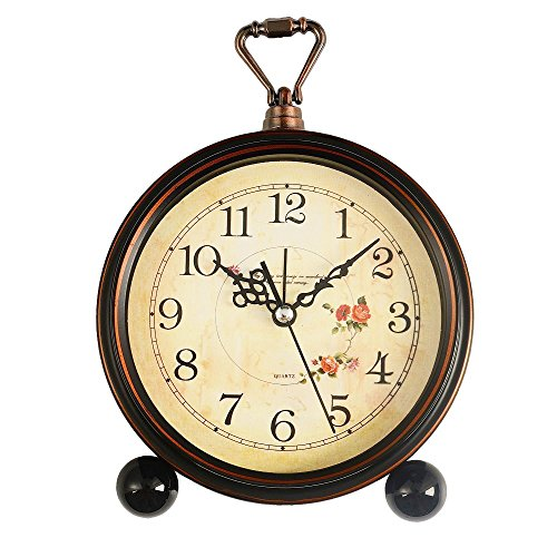 Konigswerk Vintage Retro Old Fashioned Decorative Quiet Non-ticking Sweep Second Hand, Quartz Analog Large Numerals Desk Clock, Battery Operated, Loud Alarm (Roses)