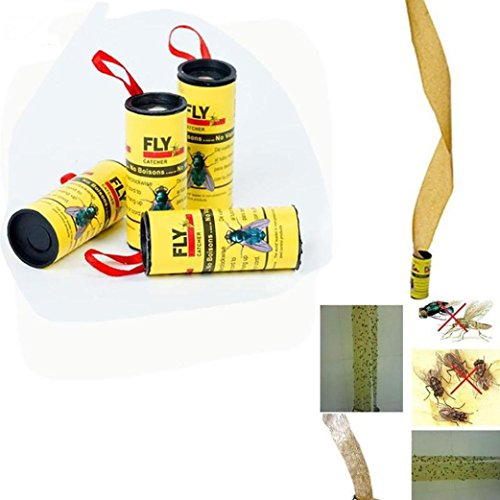Foncircle 32 Rolls Fashion Sticky Fly Paper Eliminate Flies Insect Bug Glue Paper Catcher Trap Ribbon Tape Strip Sticky Flies Roll