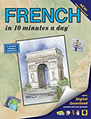 FRENCH in 10 minutes a day: Language course for beginning and advanced study.  Includes Workbook, Flash Cards,