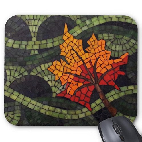- Mousepad Maple Leaf Mosaic - Green Mosaic Abstract Background Print Mouse Mat
