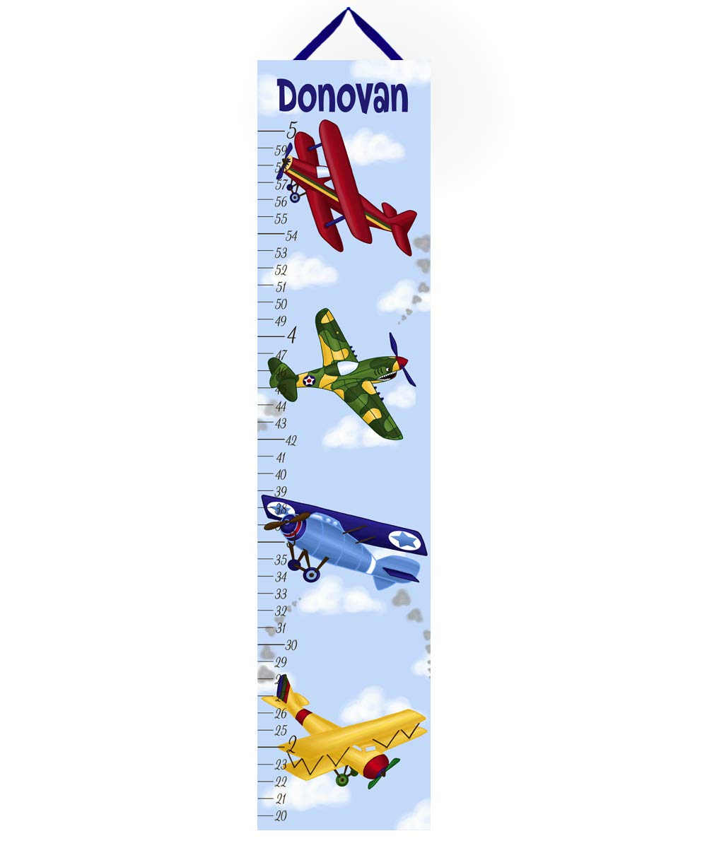 Toad and Lily Canvas GROWTH CHART Airplane Boys Bedroom Personalized Kids Baby Nursery Wall Art GC0002