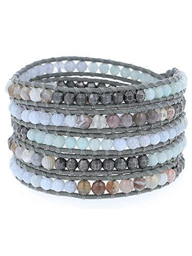 Chan Luu Amazonite Grey Mix of Semi Precious Stones Iceberg Leather Wrap - Chan Leather Luu