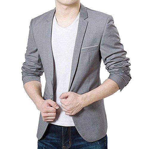 VOBAGA+Men%27s+Slim+Fit+Casual+One+Button+Suit+Blazers+Grey+5XL