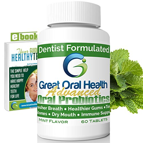 Chewable Oral Probiotics~Dentist Formulated 60 Tablet Bottle~Attack Bad Breath, Gum Disease And Build Strong Oral Health. Contains BLIS M18 and BLIS K12~Mint Flavor~83 Page eBook Included!