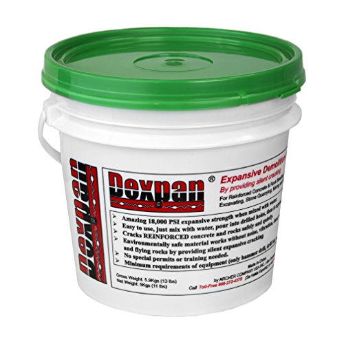 Dexpan Expansive Demolition Grout 11 Lb. Bucket for Rock Breaking, Concrete Cutting, Excavating. Alternative to Demolition Jack Hammer Breaker, Jackhammer, Concrete Saw, Rock Drill (#2 (50F-77F)) ()