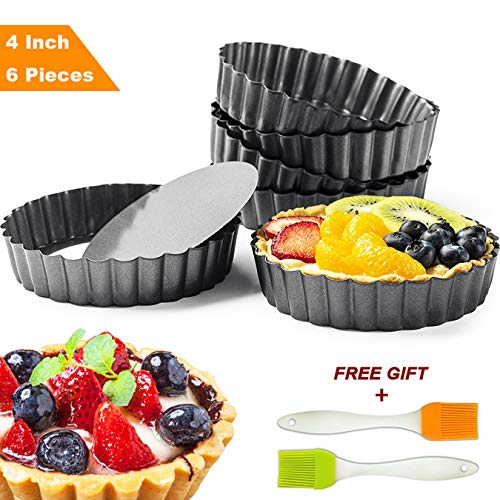 Tart Pie Pan 4 Inch with Removable Loose Bottom Mini Quiche Pizza Cake Pans Non-Stick Round Fluted Flan 6 PCS and Silicone ()
