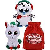 Ty Beanie Boos Candy Cane (Unicorn) & Nester (Owl) Holiday Set Bundle with Bonus Matty's Toy Stop Storage Bag - 2 Pack