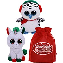 Ty Beanie Boos Candy Cane (Unicorn) & Nester (Owl) Holiday Set Bundle with Bonus Matty's Toy Stop Storage Bag - 2 Pack