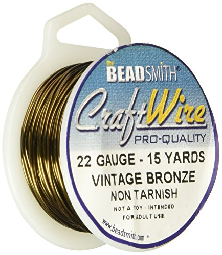 Beadsmith CW22R-VW-15 22 Gauge Antique Vintage Bronze Brass Color Copper Craft Wire, 15 yd