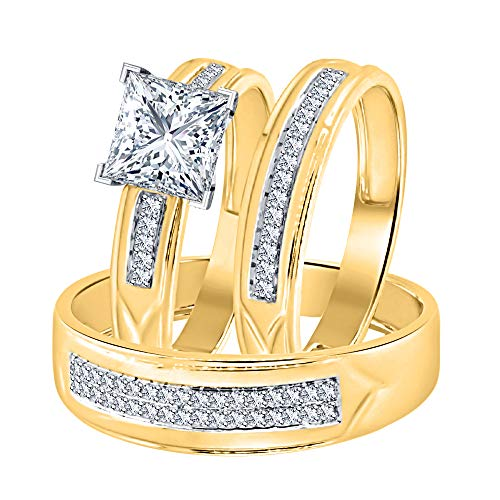 Princess Cut White CZ Diamond 14k Yellow Gold Plated Wedding Trio Ring Set for Him & Her 14k White Gold Cz Rings