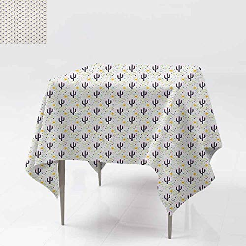 AndyTours Waterproof Table Cover,Cactus,Cacti Silhouettes with Stripes and Sun Motifs Background Succulent Plants Pattern,Party Decorations Table Cover Cloth,54x54 Inch Multicolor