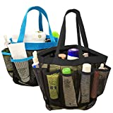2 Pack Portable Mesh Shower Caddy, DanziX Quick Dry Shower Tote Bag Hanging Toiletry Bath Organizer with 8 Storage Compartments for Shampoo, Soap and Other Bathroom Accessories - Black, Blue