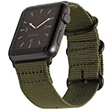 Carterjett Compatible Apple Watch Band 42mm Nylon Olive iWatch Band Replacement Strap, Durable Matte Gray Adapters NATO Buckle Compatible Apple Watch Series 3 Series 2 Series 1, 42 S/M/L Army Green
