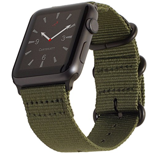 Apple Watch Band 38Mm Nylon  Olive Green Nato Iwatch Wrist Strap  Rugged Woven Canvas With Durable Matte Gray Buckle Clasp   Adapters For New Apple Watch Series 3  2  1 By Carterjett  38 Army Green