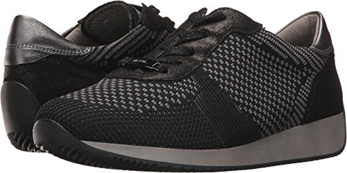 ara Women's Lilly Sneaker, Black Woven, 8.5 M US