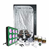 LED Grow Light Amazon Special Grow Pack by HTG - 4 x 4 (47''x47''x79'') Grow Tent Package With LED + DWC Hydroponic System & Advanced Nutrients