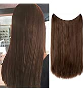 Halo Hair Extensions Light Brown Secret Wire Headband Straight Synthetic Hairpieces 18 Inch 3.9 O...