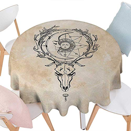 cobeDecor Sun Printed Round Tablecloth Vintage Old Paper Background with Deer Skull Antlers Moon and Star Hand Drawn Outline Flannel Round Tablecloth D36 Tan -