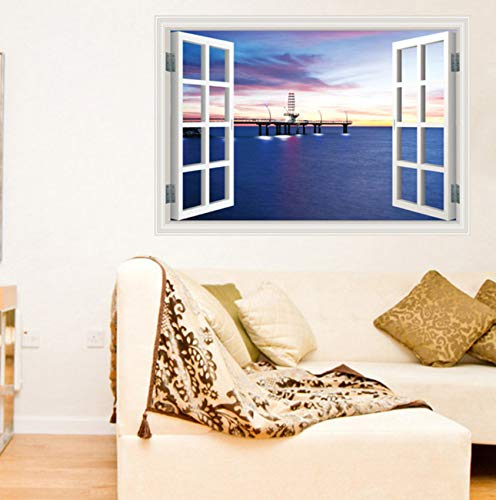 xbwy 60X90Cm Window Harbour Night Wall Sticker Fashion Personality 3D Wall Sticker Wall Decoration