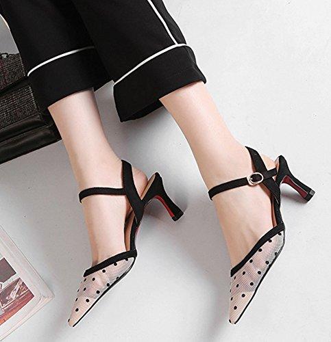 Aisun Women's Graceful Pointy Toe Web Slip On Mule Sandals White 2 mOkjPR5