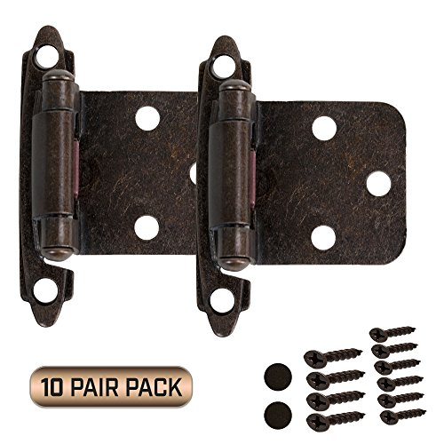 Kitchen Cabinet Door Hinges 10 Pair Pack (20 Pieces) Self Closing Face Mount Overlay, Oil Rubbed Bronze (Cabinet Hinges Kitchen Door)