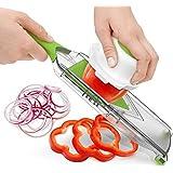 Premium Quality Mandoline Slicer - Vegetable Slicer and Cutter with Ergonomic Handle - Stainless Steel Cheese Slicer - 4-Blade Food Cutter - Adjustable Julienne Slicer - [Free Kitchen Apron]