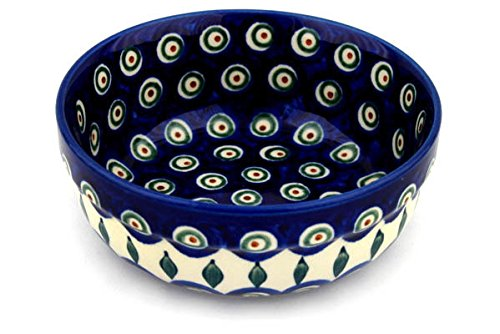 Polish Pottery Bowl 6-inch Peacock Leaves Polish Cereal