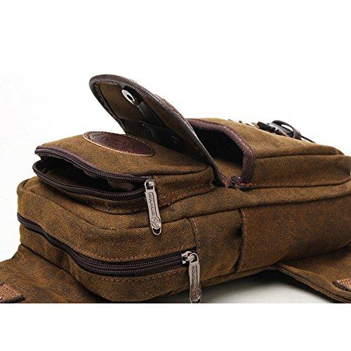 Outreo Bolso Bandolera Hombre Bolsa Sport Pecho Bolsos de tela Chest Bag Vintage Bolsas de Viaje Outdoor Casual Pequeñas Originales Montaña Lona Colegio Marr¨®n