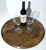 Bourbon Whiskey Barrel Lazy Susan - Made from an Authentic Bourbon Whiskey Barrel Top - Bourbon Whiskey Barrel Top Lid Head End Cap Lazy Susan